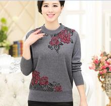 Hot sale fashion long sleeve crew neck old and middle age women's beading flowers sweater