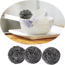 Home Kitchen Pot Cleaning Tool Stainless Steel Balls Wire Scourer 6 Pcs