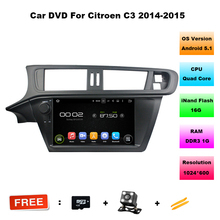 "Quad Core HD 1 din 9"" Android 5.1.1 Car DVD Player for CITROEN C3 2014 2015 With GPS 3G WIFI Bluetooth IPOD Radio TV USB DVR"