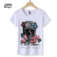 Fitaylor Summer Shirt Female 2017 Harajuku Cotton Cartoon Gray Tops Skull Print Black White Plus Size T-shirts Women 3XL Novelty(China)