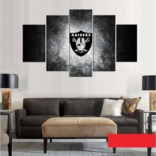 Oakland Raiders Logo American Football Sport Team Art Oil on Canvas Painting Fans Bedroom Cool Decoration Black Customized