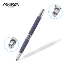 Retail 1Pc ANGNYA Permanent Makeup Manual Tattoo Pen Dual Head-Ended 3D Eyebrow Microblading Tattoo Machine Color Blue(China)