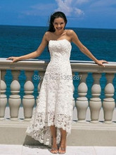 new fashion short front long back wedding dress cash on delivery strapless lace beach bridal gowns vestidos de noivas 2015 sexy