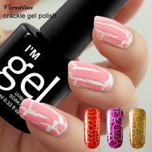 Verntion 12 Colorful Crack UV Nail 1pcs 10ml Crackle Shatter Gel Nails Polish Lacquer Professional Cracking gel Varnish(China)