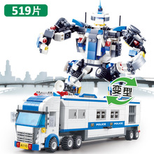 Jie Star mobile police command vehicle deformation robot children puzzle small particle building blocks toy