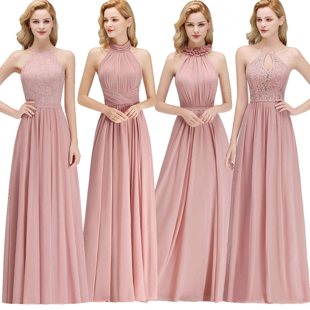 88db70b0bb1a New Dusty Pink Halter Bridesmaid Dresses Chiffon Floor length Country Beach Wedding  Guest Party Gowns Cheap