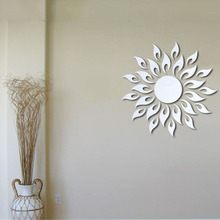 Factory Price! Acrylic 3D Removable Sun Design Mirror Effect Wall Sticker Home Decor stickers