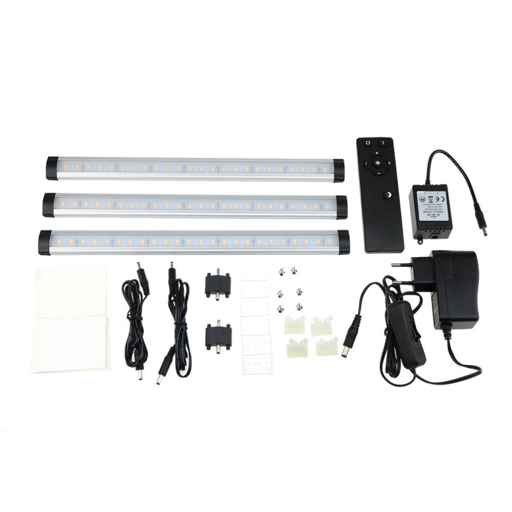 3 Straps Motion Sensor 24 LED Light Closet Cabinet Night Light Warm White PC Material With Black Remote Controller<br>