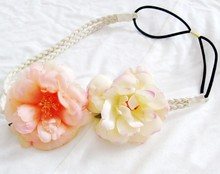 wholesale retail fashion bohemian flower double braid leather headband popular beach headband hair accessories assorted colors(China)