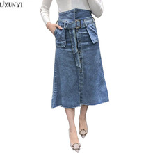 LXUNYI Ladies Denim Skirt High Waist New arrival 2018 Women Fashion Long Jeans Skirt With Belt Pocket Casual ladies jeans Skirts(China)