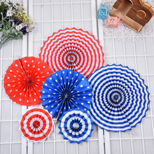 6Pcs/Set Colorful Paper Fans Round Wheel Disc Birthday Kids Party Decoration Event Kindergarten Celebration Home Wall Decoration