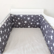 Buy 1PCS Baby Crib Cotton Bumpers Crib Newborn Cotton Linen Cot Bumper Baby Bed Protector Grey Stars Print Kids Bedding for $21.05 in AliExpress store