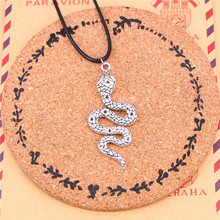 New Fashion Antique Silver Color snake cobra Charm Choker Necklaces Bohemian Black Rope For Women Jewelry