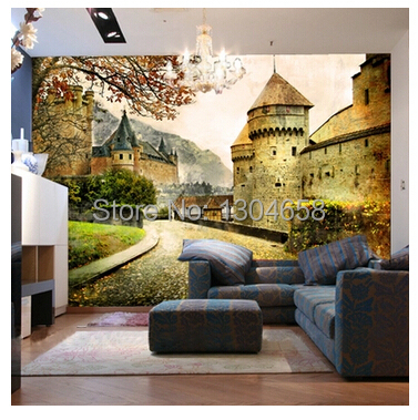 Free shipping custom 3D mural retro European buildings in Paris Coffee hall the television background wall wallpaper<br>