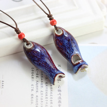Fish Whistling Pendant Necklace Ceramic Women Fashion Jewelry Long Rope Chain Pendants Charm Ethnic Handmade Choker Accessories(China)