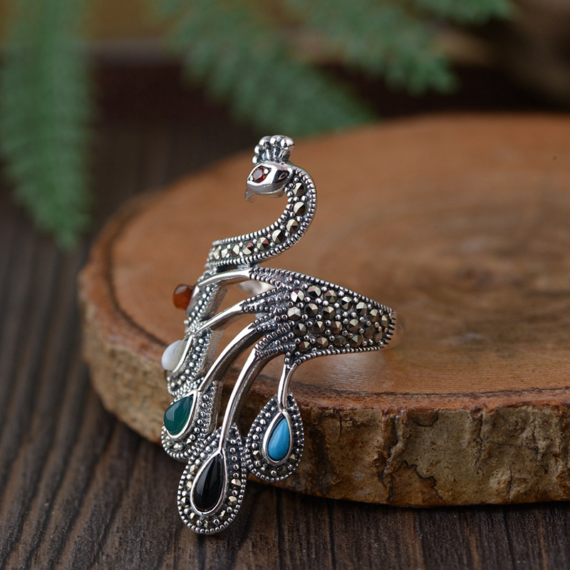 Large 925 Sterling Silver Peacock Ring