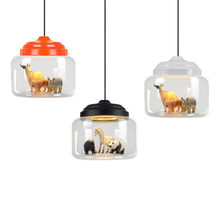 Creative pendant lights glass Built-in a variety of small animals panda tiger led pendant lamp hanging light bedroom kids room(China)