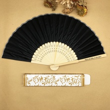 Wholesale Free/Drop Shipping 100pcs/lot Personalized Plain Hand Held Fabric Hand Fan with Paper Box Wedding Gifts for Guests