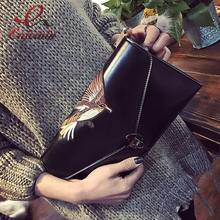 New style embroidery bird pu leather fashion ladies day clutch handbag envelope bag casual purse crossbody messenger bag 4 color