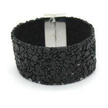 19cm Fashion Aesthetic Leather Bracelets Jewelry with Stone Trendy high quality Black Stone Manual Charm Bracelets For Women(China)