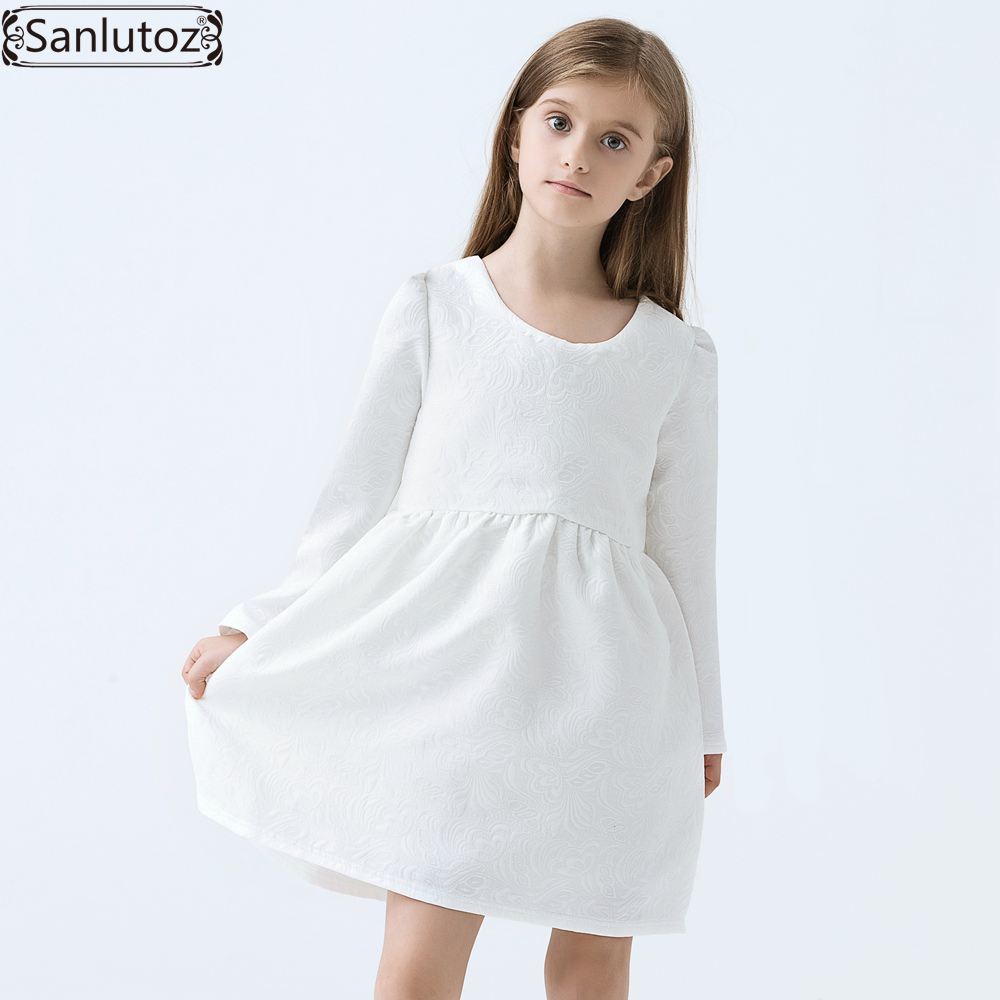 Girls Dress Winter Children Girls Clothing Brand Kids Clothes White Dress for Princess Holiday Party Wedding Baby Toddler(China)