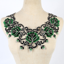 Green Craft Gold Thread Floral Sequin Embroidery Lace Patches Decorated Sew on Necklace Neckline Collar Applique Trims NL023GRN