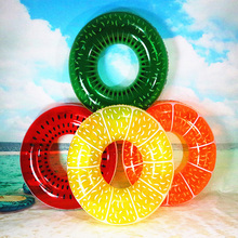 KAWO Adult Fruit Swimming Circle Ring Inflatable Float Water Pool Fun Toys Green Red Orange Yellow Swim Ring for Women Men(China)