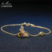 LAMOON Women Bee Peridot Natural Oval Citrine Charm Bracelets 925 Sterling Silver Jewelry Rose Gold Chain Fashion Charm Bracelet