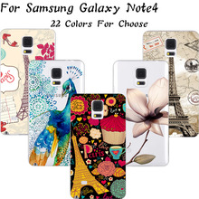 1PC Fashion Painting Cute Elephant Soft Silicon Phone Cases For Samsung Galaxy Note4 Note 4 N9100 Case Cover Shell Best Choose