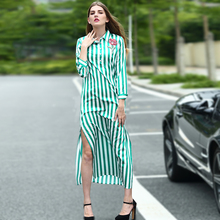 Striped Dress 2016 Summer Novelty Turn-down Collar Long Sleeve Rose Embroidery High Street Mid-Calf Loose Slits Button Dress(China)