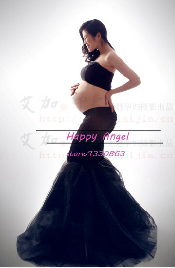 New Pregnant Women Photography Props Pregnancy Black Mermaid Romantic Dress Baby Shower Photo Shoot  Free shipping Free size<br>