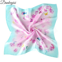 DANKEYISI 100% Silk Scarf Women Shawl Spring Autumn Silk Scarf Square Scarf Small Handkerchief 2017 Fashion Scarves Top Quality(China)