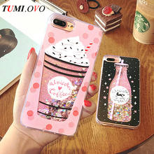 Buy Cute Drink Bottle Ice Cream Heart Glitter Star Dynamic Liquid Quicksand Soft TPU Phone Back Cover Case iPhone 6 6S 7 Plus for $2.69 in AliExpress store