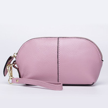 Fashion Women's Genuine Leather Wallets Ladies Natural Leather Make up Purse For Phone Female Leisure Cowhide Brief Shell Clutch(China)