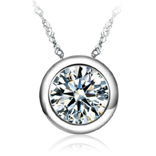 Crystals From Swarovski Classic Love Round Pendant Necklace For WomanJewelry Vintage Thin Chain CZ Purple Necklace bijoux(China)