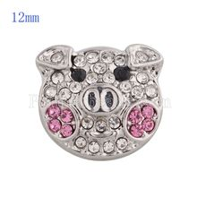 High Quality Cute Pig Snap Button Partnerbeads Interchangeable Rhinestone Snap Jewelry Fit Snap Bracelet for Women KS5136-S(China)