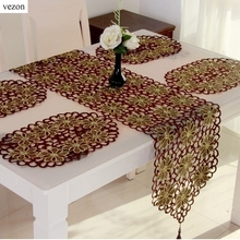 vezon Hot Elegant Christmas Embroidery Table Runner Xmas Embroidered Full Cutwork Handmade Table Cloth Towel Cover Home Decor