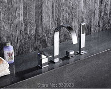 Newly Chrome Finished Waterfall 5Pcs Bathroom Tub Faucet With ABS Hand Shower Mixer Tap Bathtub Faucet Deck Mounted