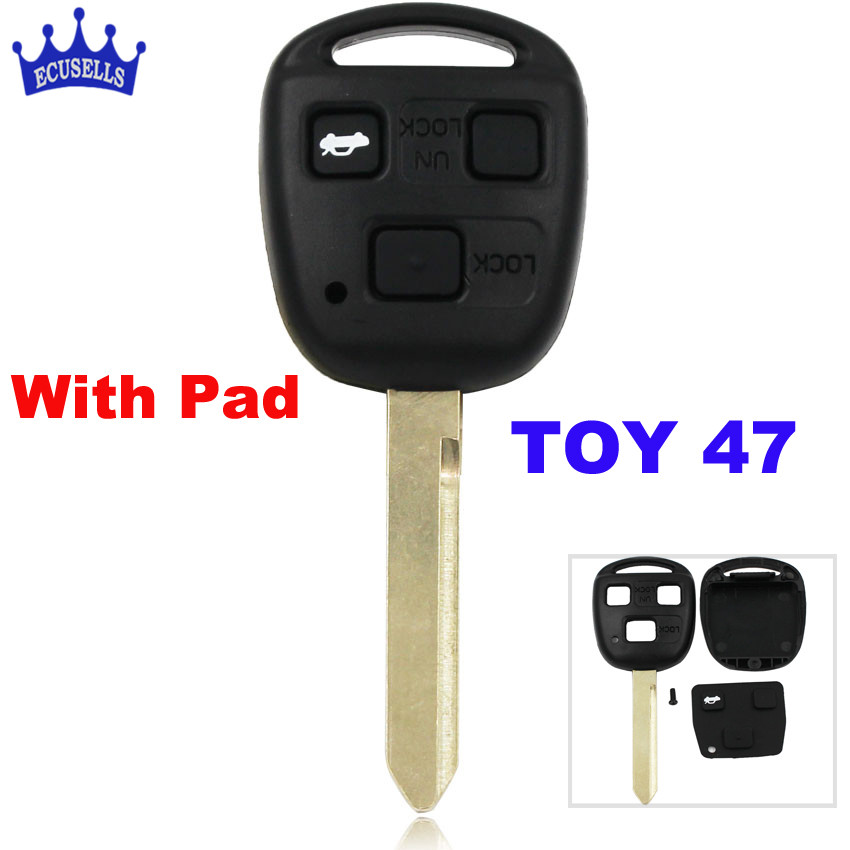 SALE ! 3 Buttons Remote Key Shell for Toyota Yaris Avensis Key Case Fob Blade TOY47 With Button Pad(China)