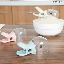 1 Pcs Cute  Household 2 in 1 Creative Duck Shape Plastic Shovel Handled Spoon + Bag Clip Food Sealing Clip Kitchen Accessories