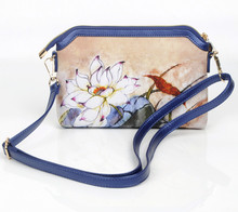 2016 NEW DESIGN HIGH QUALITY CANVAS  MATERIAL DIGITAL PRINT INSET INK LOTUS WATER LILY SMALL CROSS BODY  BLUE BAG SM078
