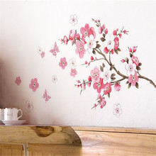 Wall Stickers Pink Cherry Peach Blossom Plum Flower Butterfly Stickers Home Art Decor DIY Vinyl Wall Decal DecorationNov19