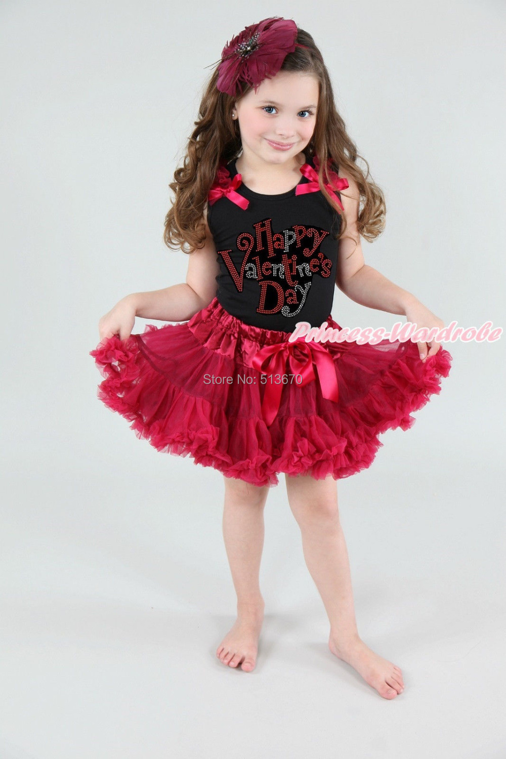 Rhinestone Happy Valentine Girl Black Pettitop Raspberry Wine Red Skirt 1-8Year MAPSA0158<br>