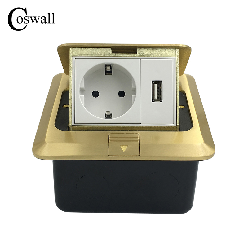 All Copper Panel EU Standard Pop Up Floor Socket Electrical Outlet With USB Port<br>