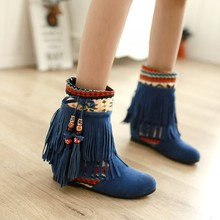 Size 33-43 Bohemia Women's Ankle Boots Suede Tassel Short Single Shoes Ladies Wedge Fringe Casual High Heels