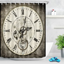 LB Steampunk Clock Face With Gems Gears Cogs Shower Curtain Waterproof Polyester Bathroom Curtains Fabric