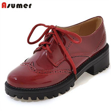 Asumer 2017 Shoes woman lace-up fashion retro women shoes pumps platform soft leather four seasons single shoes big size 34-43