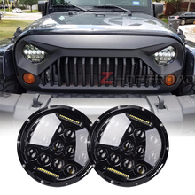 "7"" LED H4 Hi/Lo Beam DOT EMARK Headlights with Daytime Running Light Projector Daymaker Head Lamps Replacement for Jeep Wrangler"