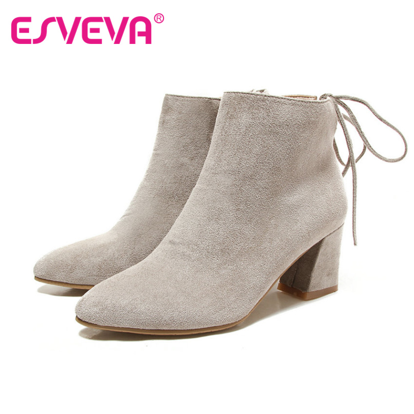 ESVEVA  2017 Scrub Autumn Women Shoes Western Style Ladies Square High Heel Ankle Boots Elegant OL Fashion Boots Plus Size 34-43<br><br>Aliexpress