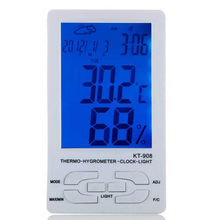 1pc KT-908 LCD Backlight Indoor Temperature Hygrometer With Probe Display / Time zone / Calendar Weather Forecast(China)